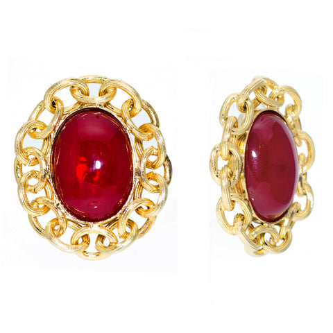 Ruby Oval Cabochon & Gilt Chain Earrings, Season 25 for 1988