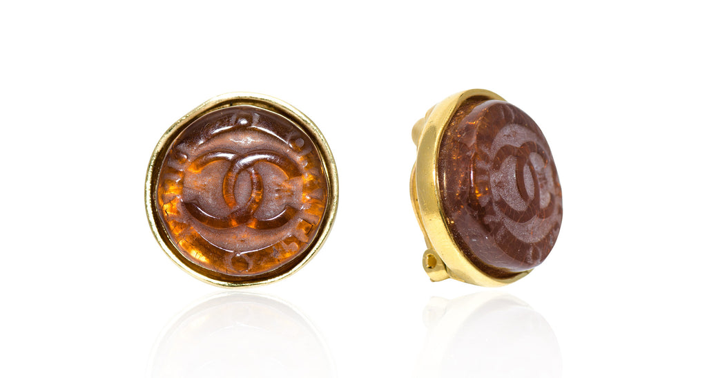 Brown Pate-De-Verre Logo Center Earrings in Gilt Settings