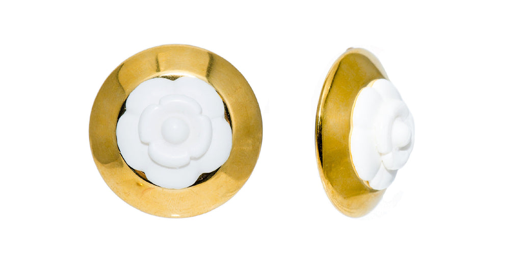 White Acrylic Camellia Flower Earrings With Gilt Bezel, Season 27 for 1990
