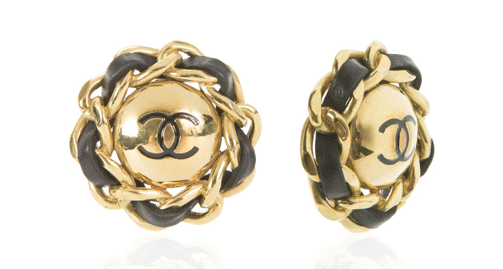 Jumbo Black Woven Leather & Gilt Earrings with Domed Interlocking 'C' Chanel Logo Centers