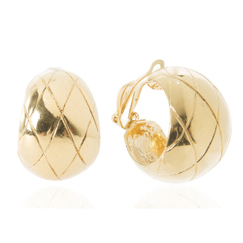 Gilt Quilted Hoops Earrings with CC Logo