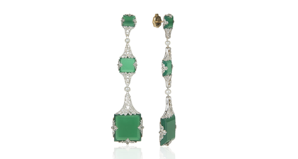 French Belle Epoque Chalcedony & Diamond 18K White Gold Earrings
