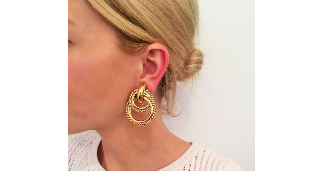 Rigid Double Hoop with Twist Edge Earrings, Circa 1990