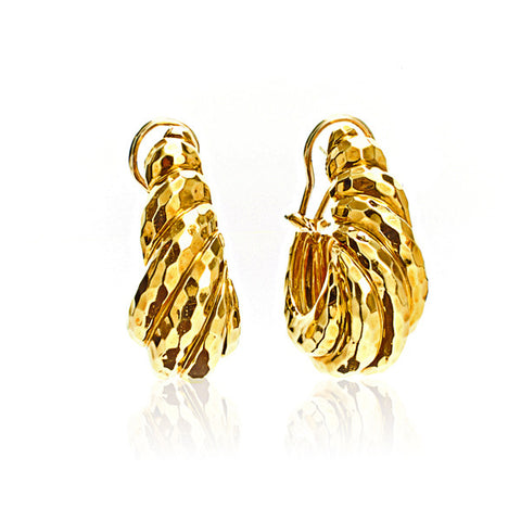 18K Yellow Gold Chunky Hammered Sculptural Earrings