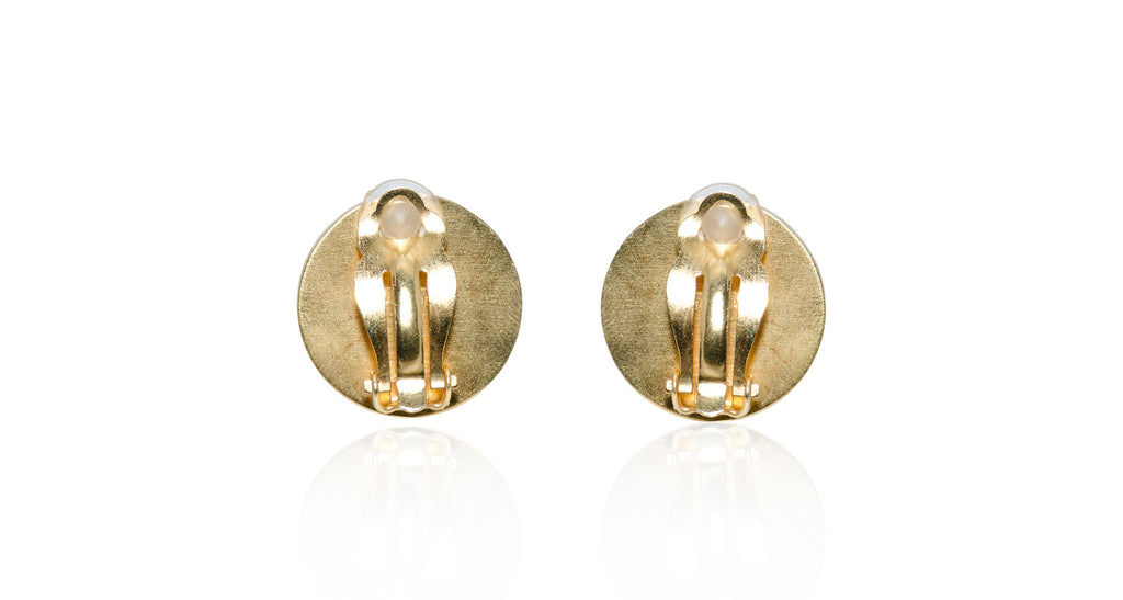 Round Brown Mother-Of-Pearl Logo Earrings, Circa 1990