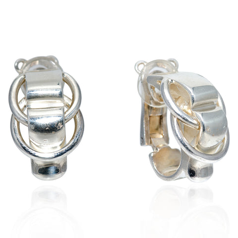 Sterling Silver Double Ring Earrings, Circa 1990