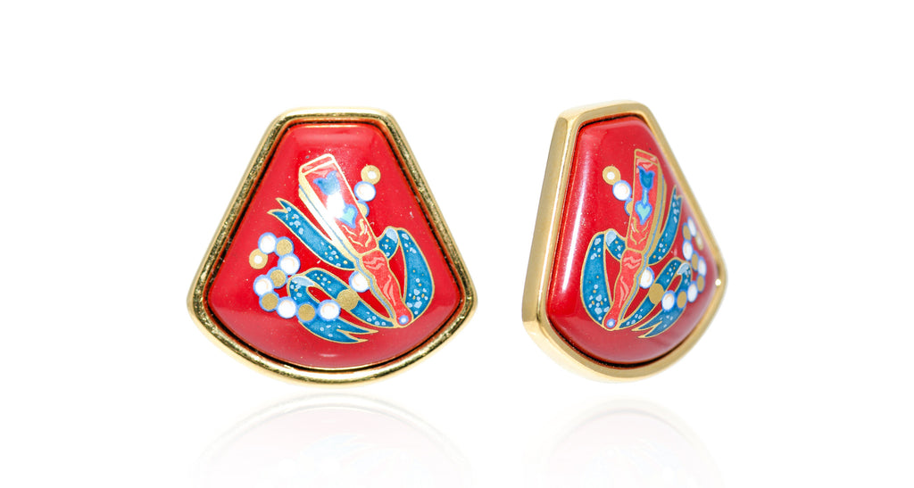 Red Enamel 'Fan Plaque' Keystone Earrings, Circa 1990