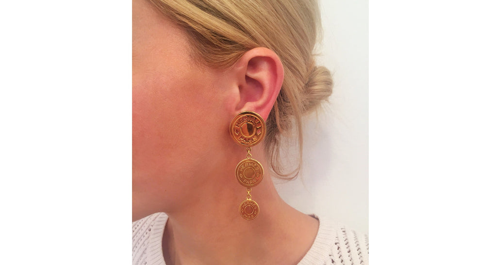 Graduated Gilt Disk Dangle Earrings, Circa 1990