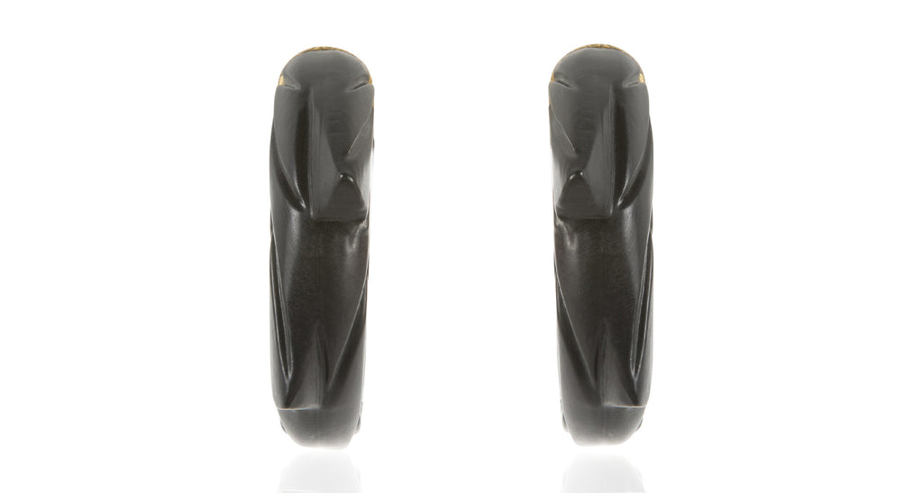 Black Carved Resin Dragon Tail Earrings, Circa 1980