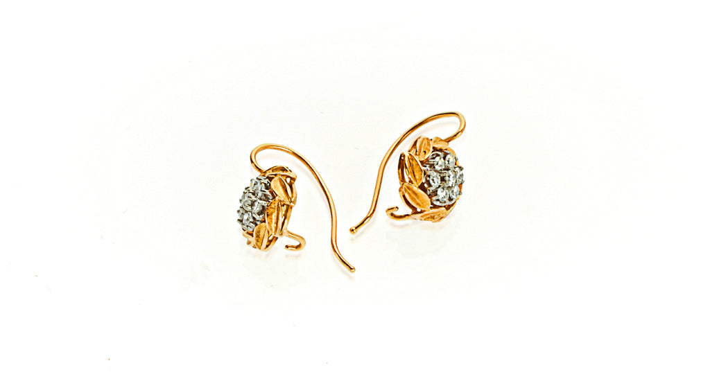 18K Yellow Gold Diamond Cluster Earrings