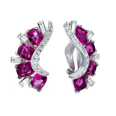 Pink Sapphire & Clear Paste Whoosh Earrings, Circa 1970