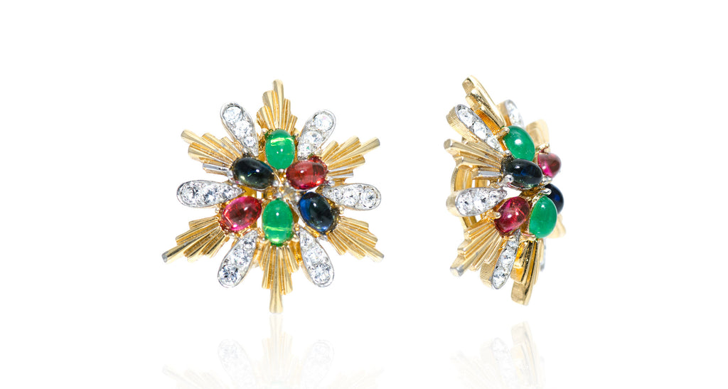 Gold & Strass Sunburst Earrings with Gemstone Cabochon Centers, Circa 1975