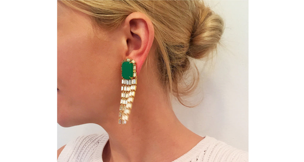 Jadeite & Diamond Paste Fringe Earrings, Circa 1990