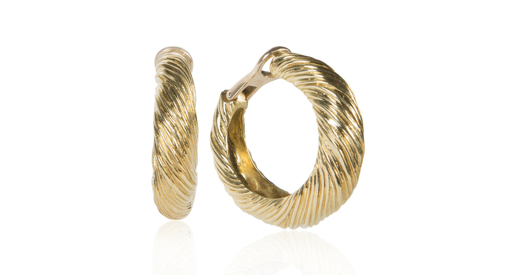 1970s 18K Gold Oversized Hoop Earrings