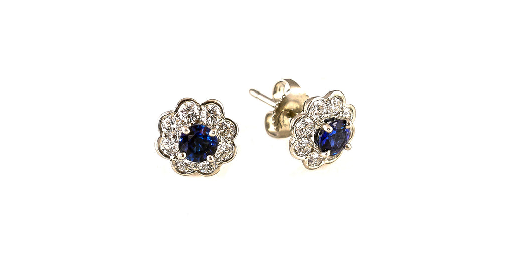 Estate Diamond & Sapphire Flower Earrings