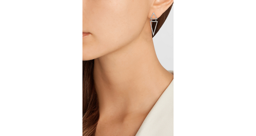 White Gold & Diamond Small Inverted Triangles Earrings