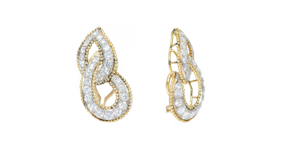 Retro Gold, Platinum & Diamond 'Double Leaf' Earrings