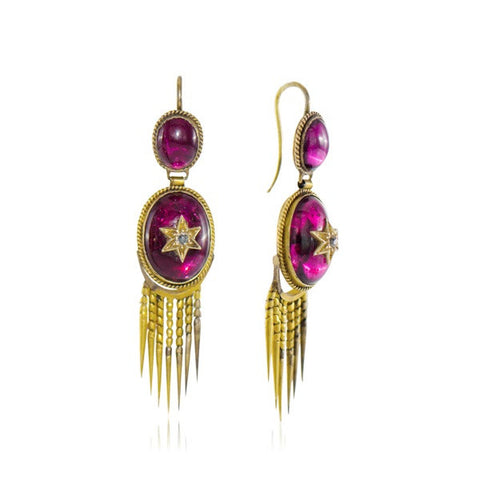 Antique Garnet & Diamond Fringe Earrings