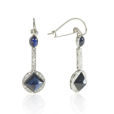 Art Deco Diamond & Sapphire Dangle Earrings
