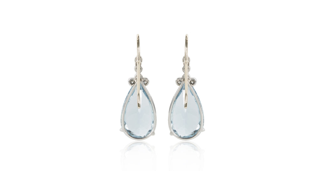 18K Gold Pear Step Cut Aquamarine Drop Earrings