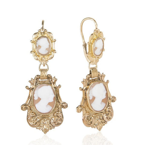 Antique Victorian Cameo 18K Gold Heirloom Earrings
