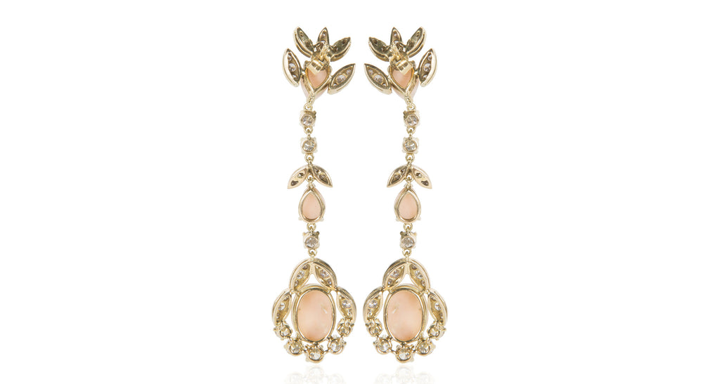 1960s Pink Coral & Diamond Earrings