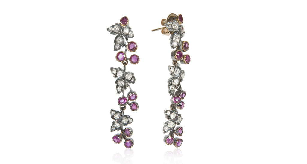 Art Nouveau Ruby & Diamond Dangle Earrings