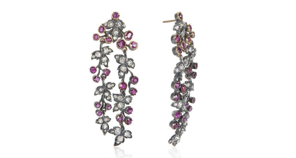 Art Nouveau Ruby & Diamond Two-Strand Dangle Earrings