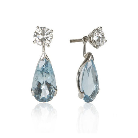 White Gold & Platinum Diamond & Aquamarine Convertible Stud/Drop Earrings