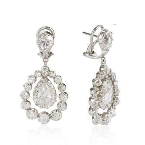French Art Deco Pear-Shaped Diamond Platinum Dangle Earrings
