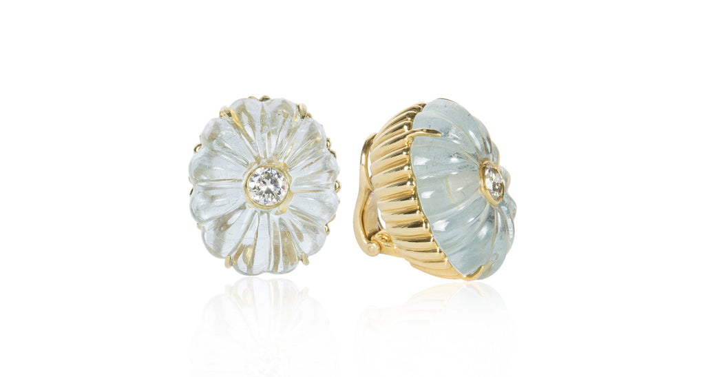 1960s Hand-Carved Aquamarine & Diamond Flower Bud Earrings