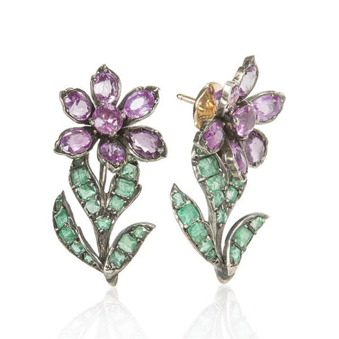 Art Nouveau Pink Sapphire & Emerald Dangle Earrings