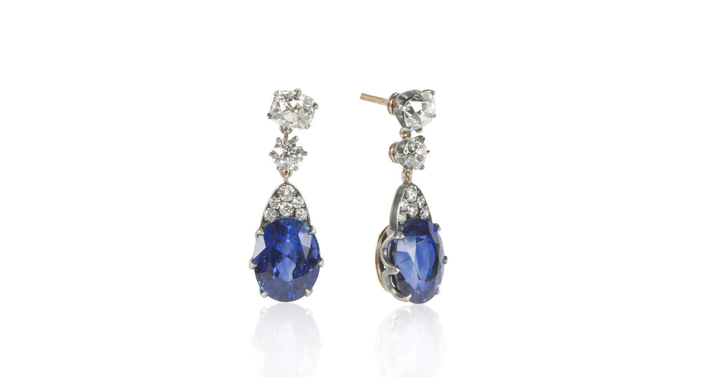 Edwardian Burma & Sri Lanka Sapphire & Diamond Dangle Earrings