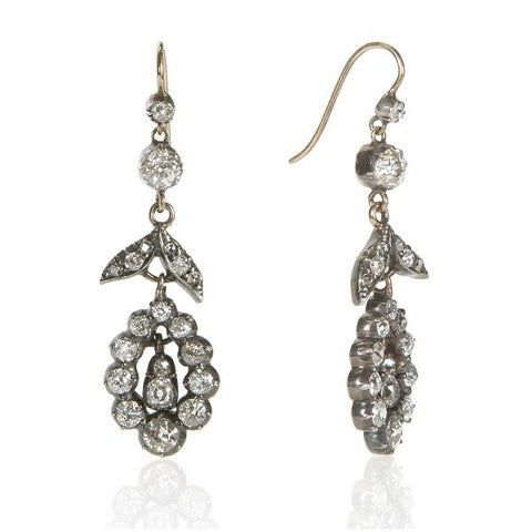Victorian Rose Cut Diamond & Silver Drop Earrings