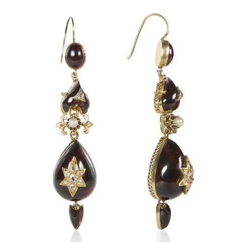 18K Gold Victorian Garnet & Diamond Embellished Drop Earrings