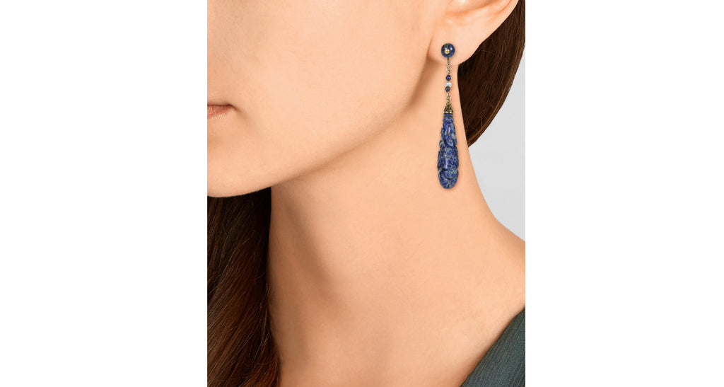 1960s Carved Lapis & Seed Pearl Dangle Earrings
