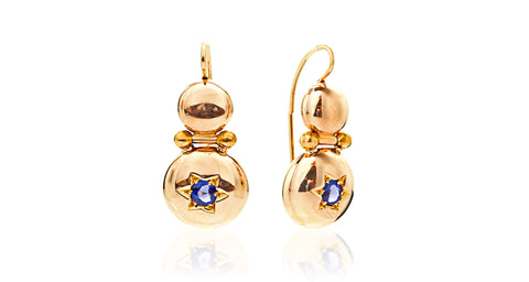 14K Yellow Gold Victorian Drop Dome Blue Garnet Doublet Earrings