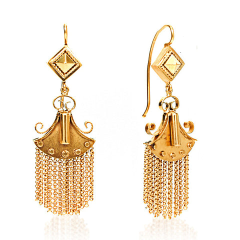 14K Yellow Gold Victorian Tassel Earrings