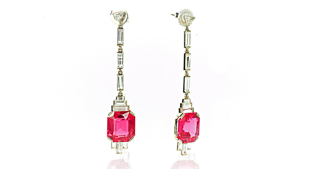 French Art Deco 18K White Gold & Pink Sapphire Drop Earrings