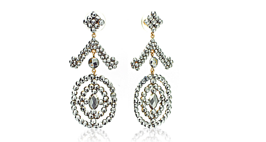 Antique Cut Steel Drop Earrings with 14K Gold Fittings