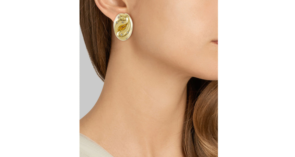 Retro Style Modern Gold & Diamond Puffy Swirl Earrings