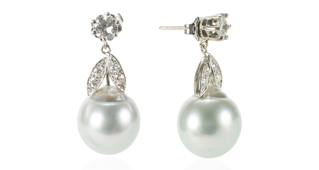 South Sea Pearl & Diamond Earrings in 14K Gold