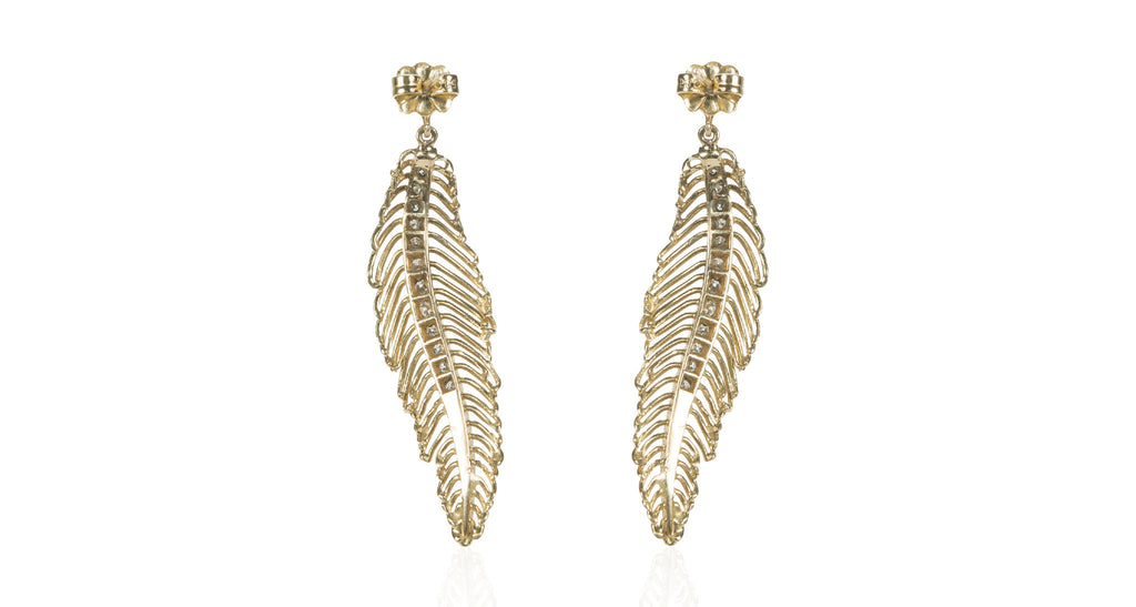 1970s Gold Feather Earrings with Natural Single Cut Diamonds