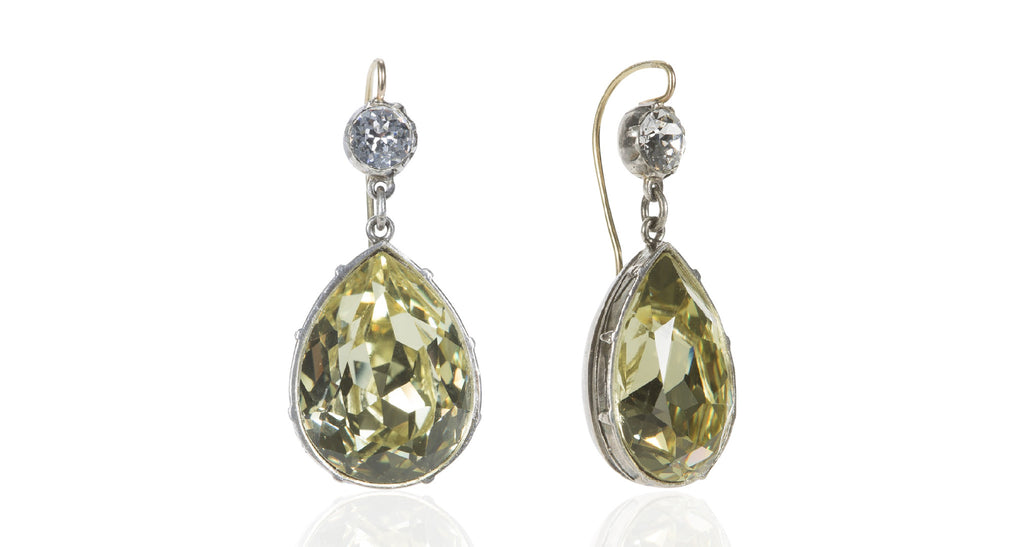 Diamond & Jonquil Paste Pear-Shape Drop Earrings with 14K Gold Wires