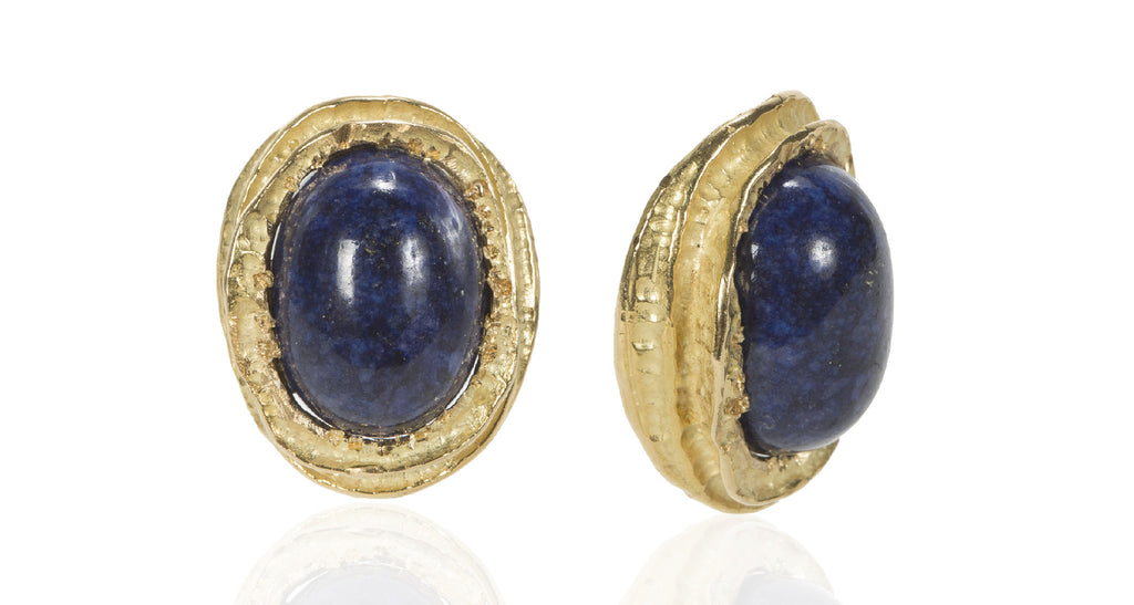 Navy Blue Sodalite Cabochons set in 18K Gold Nest Earrings, Circa 1970