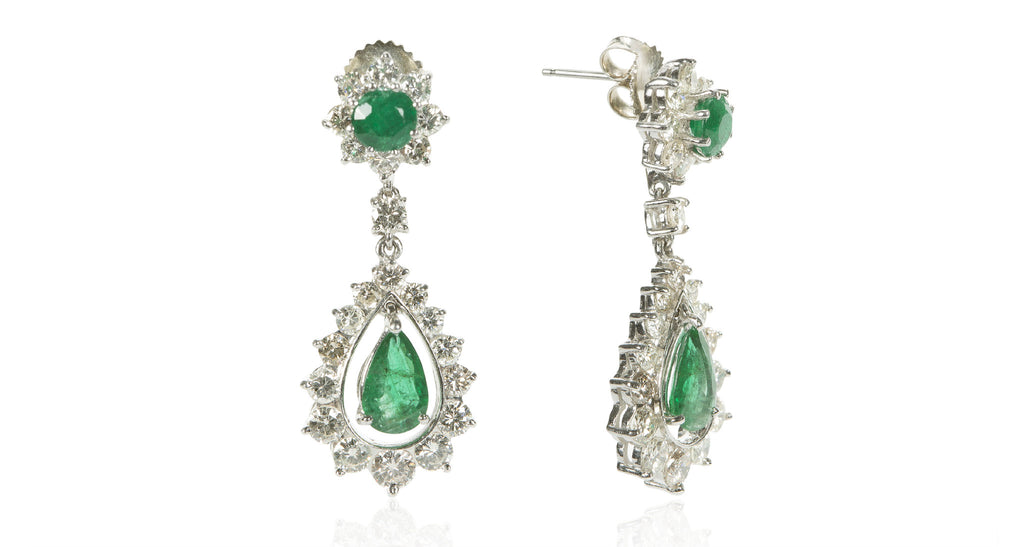 Pear-Cut Emerald & Diamond Dangle Earrings, Circa 1965