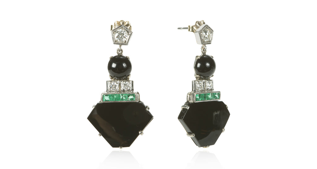 Art Deco Onyx, Emerald & Diamond Drop Earrings, Circa 1920