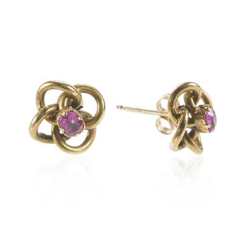 14K Yellow Gold Clover Knot Earrings with Pink Sapphire Centers, Circa 1890
