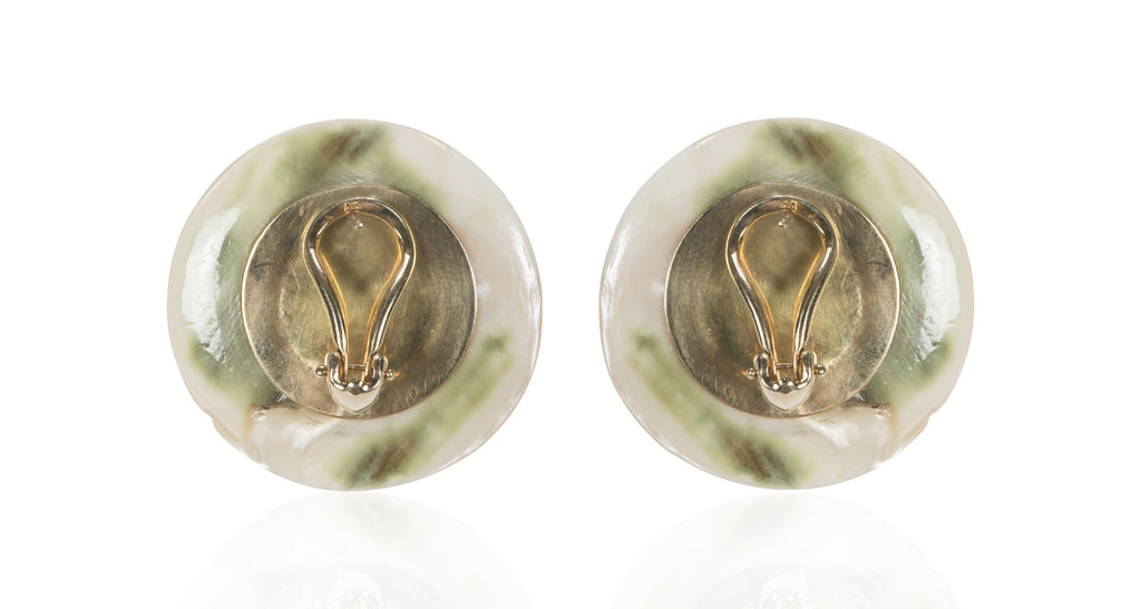 Antique Carved Mother-Of-Pearl Button Earrings