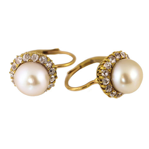 Estate Natural Pearl & Diamond Earrings